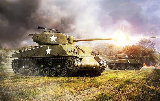 Sherman's attack by Gino Marcomini