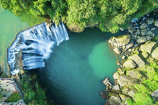 Shifen Waterfall Aerial View by Yusheng Hsu