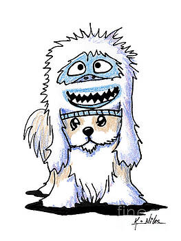 Shih Tzu In Yeti Hat by Kim Niles