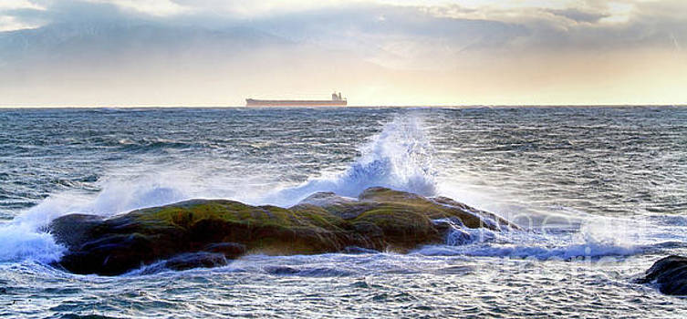 Ship and Waves by Colin Cuthbert