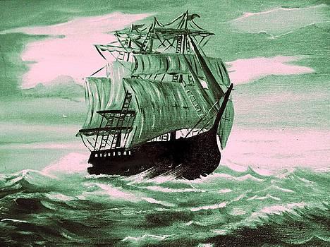 Ship at sea by Thomas J Norbeck