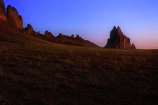 Shiprock Under the Stars - sunrise - New Mexico - landscape by Jason Politte
