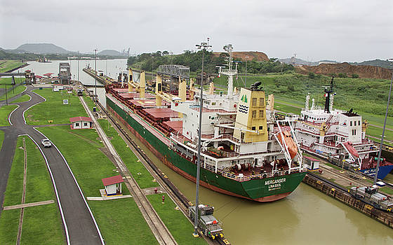 Ships, Miraflores Locks in Panama by Venetia Featherstone-Witty