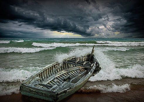 Randall Nyhof - Shipwrecked Wooden Boat amidst Crashing Waves