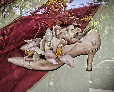 Shoe with Flowers in Window, Buenos Aires  by Sydney Solis