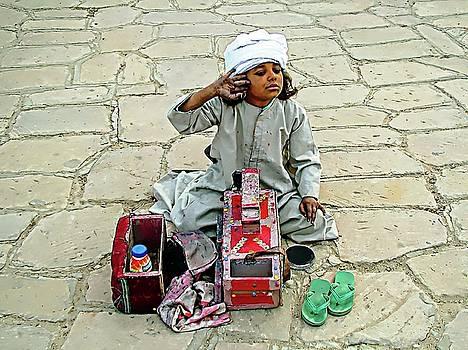 Shoeshine Girl - Nile River, Egypt by Joseph Hendrix