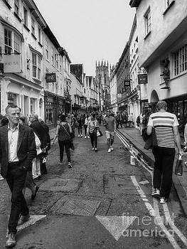Shopping at Petergate York BW by Joan-Violet Stretch
