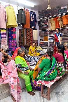 Shopping for Shawls - Rishikesh India by Kim Bemis