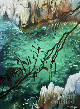 Shore at Cap Ferrat by Lin Petershagen
