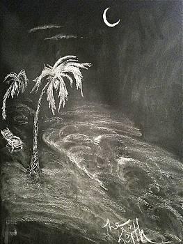 Shore at night. by Keith Newton