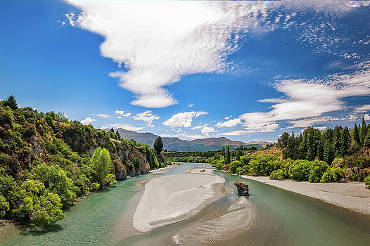 Shotover River View in Queenstown, New Zealand. by Daniela Constantinescu