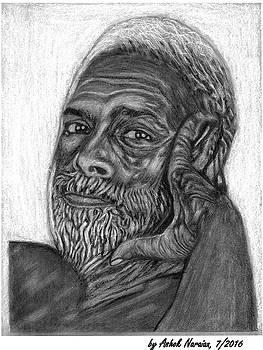 Shri. Ramana Charcoal Drawing by Ashok Naraian