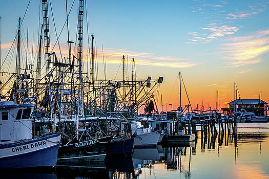 Shrimp Boat Lineup by Jane Anne Sawyer