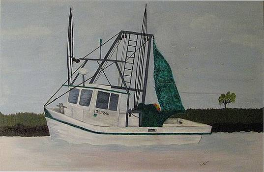 Shrimp boat on the river by Mark E Smith