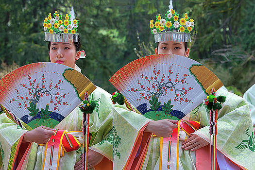 Shrine Maidens from Tsurugaoka Hachimangu Shrine by David Gn