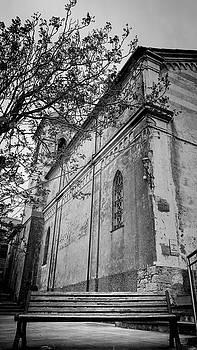 Shrine of San Bernardino Cinque Terre Italy BW by Joan Carroll