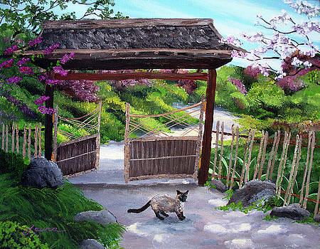 Laura Iverson - Siamese Cat at Hakone Side Gate