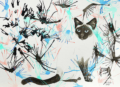 Siamese cat splatter by Stefanie Forck