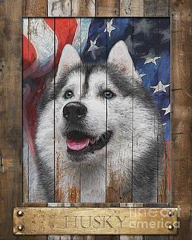Siberian Husky Flag Poster by Tim Wemple