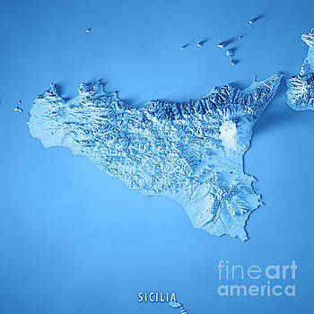 Sicilia Island Italy 3D Render Topographic Map Blue by Frank Ramspott