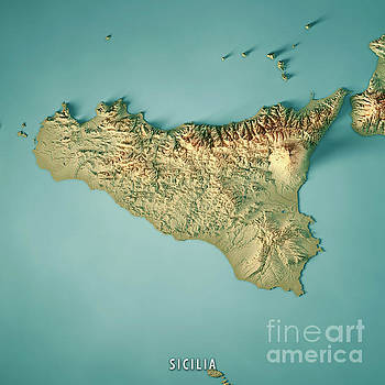 Sicilia Island Italy 3D Render Topographic Map by Frank Ramspott