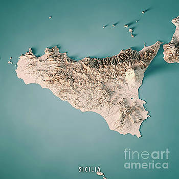 Sicilia Island Italy 3D Render Topographic Map Neutral by Frank Ramspott