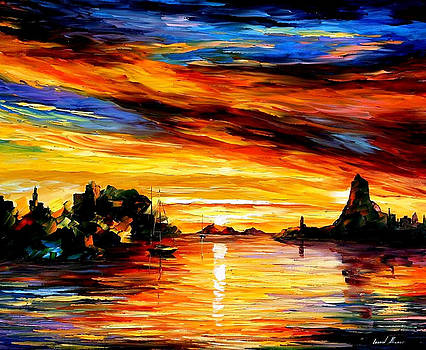 Sicily-Catania - PALETTE KNIFE Oil Painting On Canvas By Leonid Afremov by Leonid Afremov