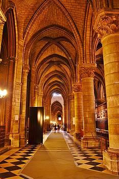 Side Hall Notre Dame Cathedral - Paris by Kim Bemis