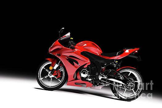 Michal Bednarek - Side view of red sports motorcycle in a spotlight