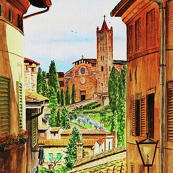 Siena Italy Church of Santa Maria dei Servi Watercolor by Irina Sztukowski