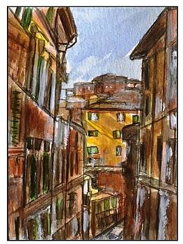 Siena Street w Yellow House by Angela Puglisi