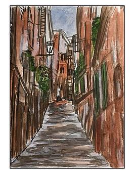 Siena Street with Green Shutters by Angela Puglisi