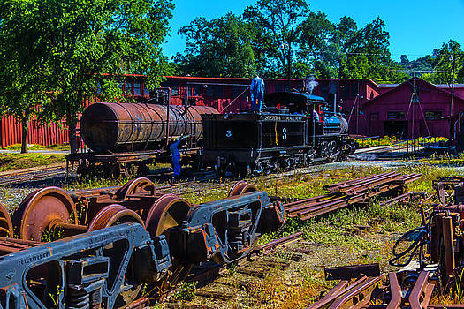 Sierra Railway Train 3 Roundhouse by Garry Gay