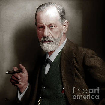 Wingsdomain Art and Photography - Sigmund Freud Colorized 20170520 square