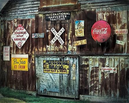 Sign Barn, Vintage Metal Signs on Old Barn by Melissa Bittinger