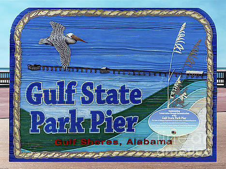 Sign Gulf Shores State Park Pier Al 1604a by Ricardos Creations