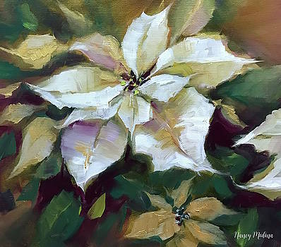 Silent Night Poinsettias in Gold by Nancy Medina