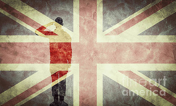 Michal Bednarek - Silhouette of a soldier and The United Kingdom grunge flag.