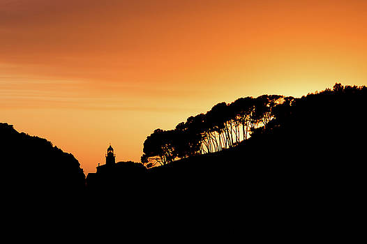 Silhouette of port during sunset orange nautic skyline by Maximilian Wollrab