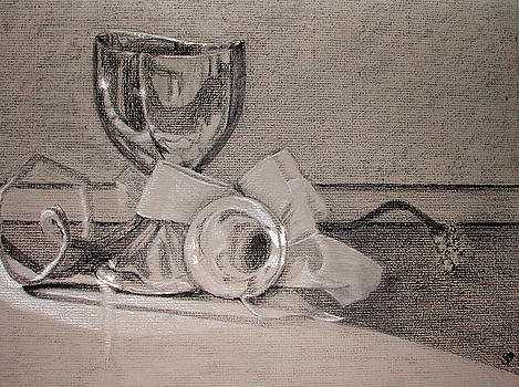 Silver and Glass Still Life by Rebecca Tacosa Gray