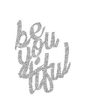Silver 'Beyoutiful' Typographic Poster by Jaime Friedman