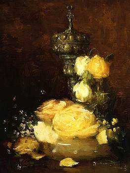 Weir Julian Alden - Silver Chalice With Roses 1882