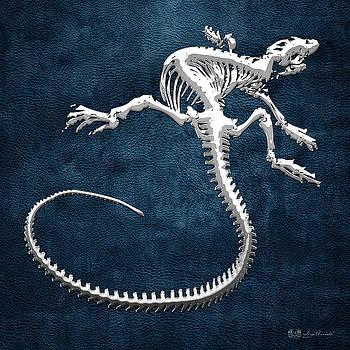 Serge Averbukh - Silver Iguana Skeleton on Blue Silver Iguana Skeleton on Blue
