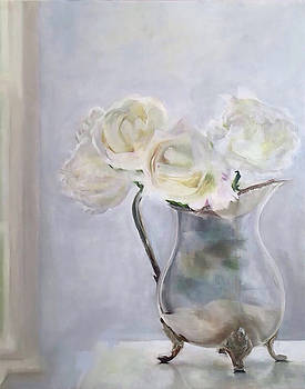 Silver Jug With Roses by Trish Mitchell