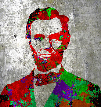 Silver Lincoln Abraham on Silver Paper by Robert R Splashy Art Abstract Paintings