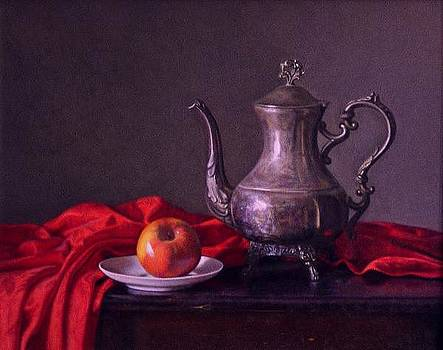 Silver Pitcher with Red by Keith Murray