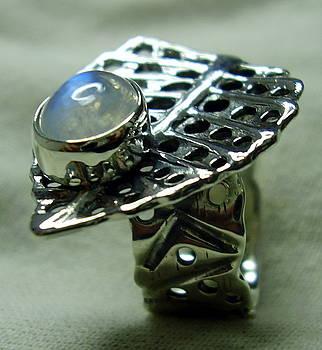 Silver Ring-moon Stone by Jonatan Kor
