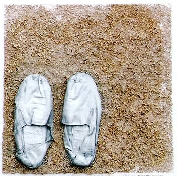 Silver Slippers in Sand by Gabe Art Inc