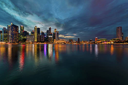 Singapore City Skyline at Evening Twilight by David Gn