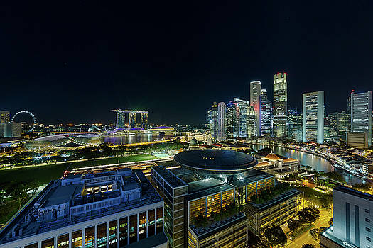 Singapore Modern Skyline by the River at Night by David Gn